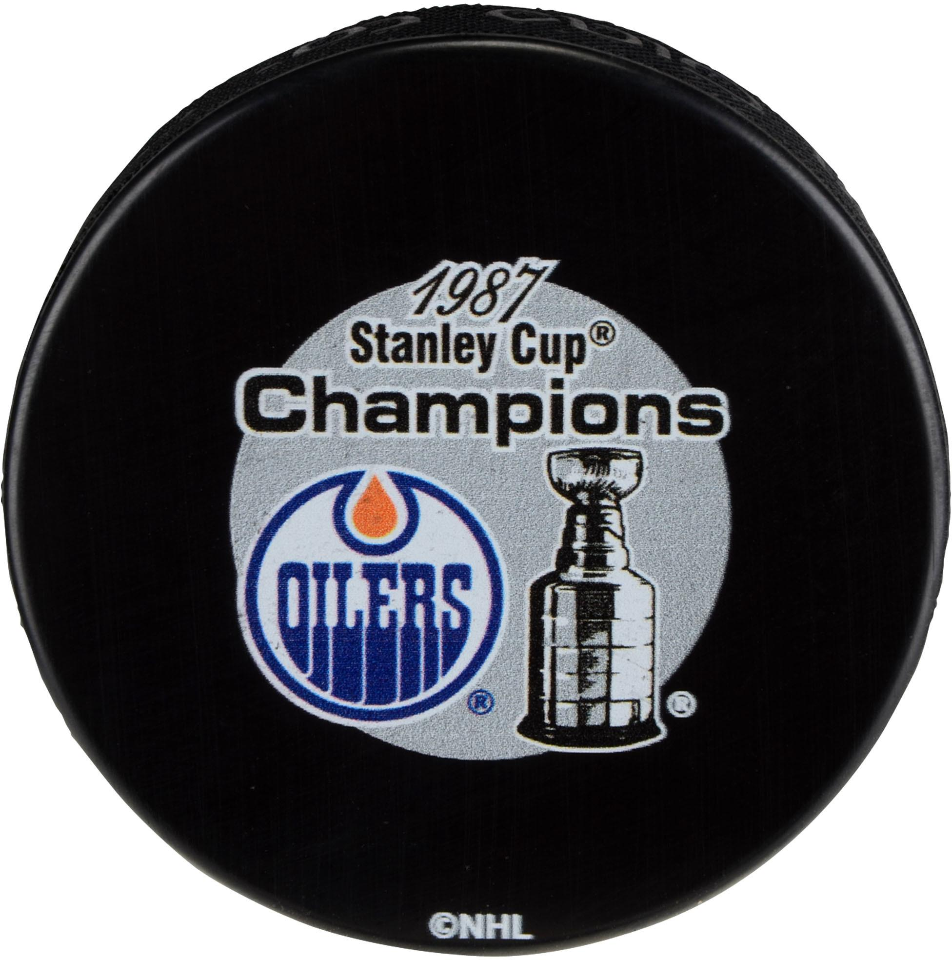 Edmonton Oilers Unsigned 1987 Stanley Cup Champions Logo Hockey Puck