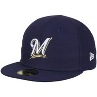 Milwaukee Brewers New Era Infant Authentic Collection Logo On-Field My First 59FIFTY Fitted Hat - Navy