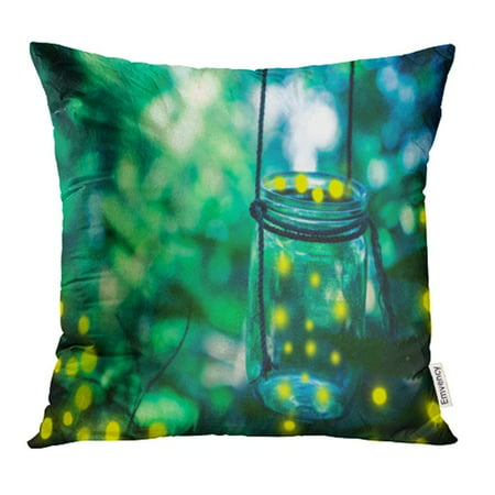 ARHOME Green Bokeh Firefly in Jar Bugs Captured Catch Covering Dusk Environment Pillow Case Pillow Cover 16x16 inch Throw Pillow (Best Pc Case For Dusty Environment)