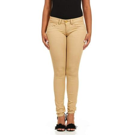 V.I.P.JEANS Women's Skinny Jeans Butt Lift Ankle Juniors, Khaki Beige 15