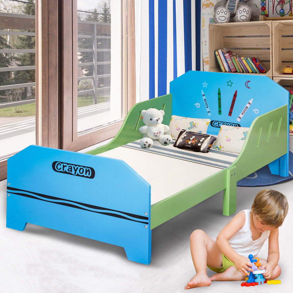 Gymax Crayon Themed Wood Kids Bed with Bed Rails for Toddlers and Children Colorful