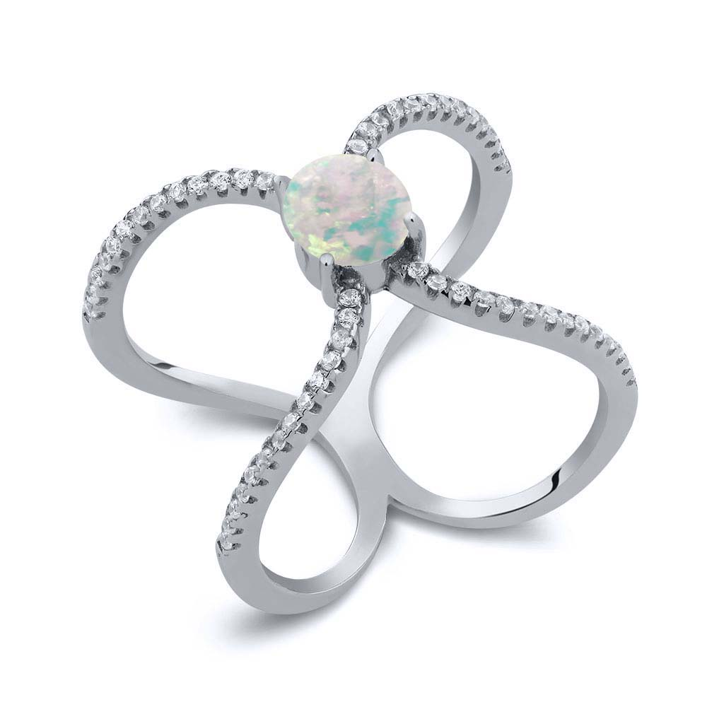 1.23 Ct Round Cabochon White Simulated Opal 925 Sterling Silver Ring by