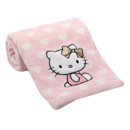 Lambs & Ivy Hello Kitty Pink/White Heart Luxury Coral Fleece Baby Blanket ()