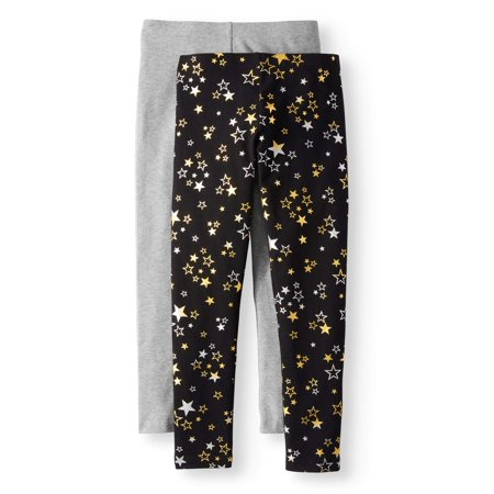 Wonder Nation Girls' Solid & Printed Leggings 2-Pack Set