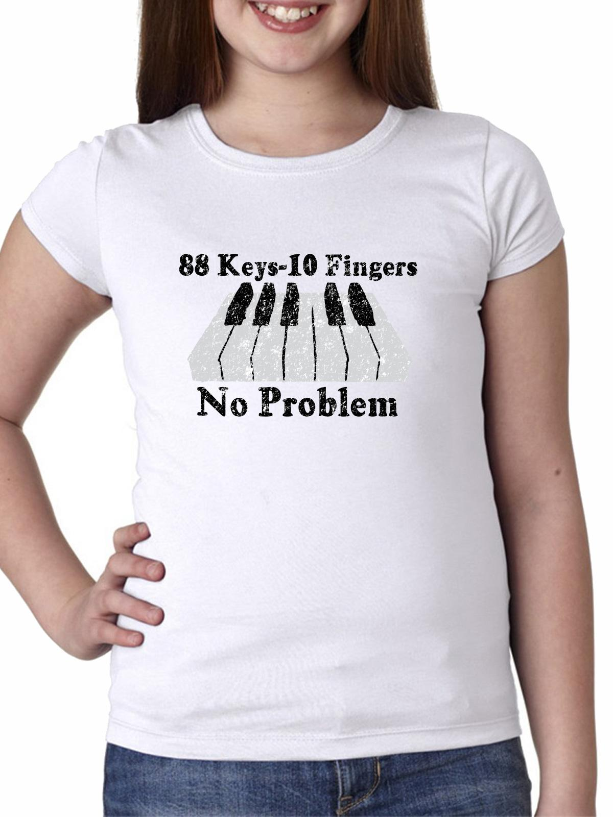 88 Keys-10 Fingers No Problem - Keyboard Piano Girl's Cotton Youth T-Shirt