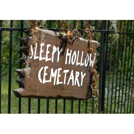Sleepy Hallow Halloween (Laminated Poster Halloween Cemetary Sign American Sleepy Hollow Sign Poster Print 11 x)