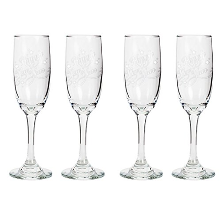 Tapered Fluted - Tapered Champagne Flute Glasses, 6.25 oz - Happy New Year - Laser Engraved Text Gift - Set of Four