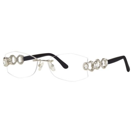 Caviar Rimless Eyeglasses 2363 C 35 Silver Crystals Frame New 54mm (Silver Rimless Eyeglasses)