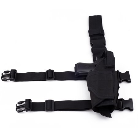 Adjustable Tactical Pistol/Gun Drop Leg Thigh Holster with Mag Pouch Right,