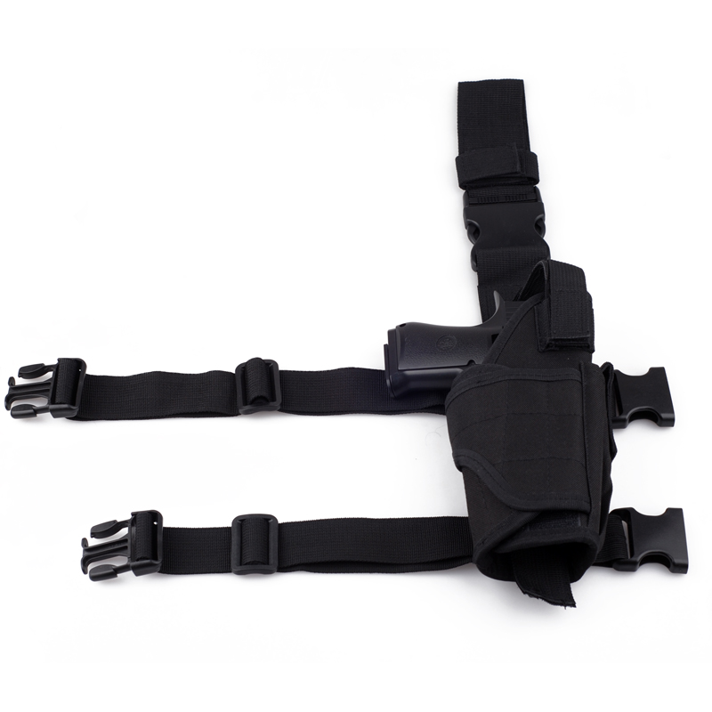 Adjustable Tactical Pistol/Gun Drop Leg Thigh Holster with Mag Pouch Right, Black
