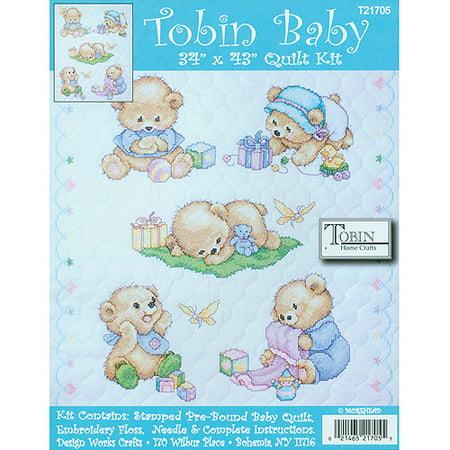 Bear Quilt Stamped Cross Stitch - Tobin Baby Bears Quilt Stamped Cross Stitch Kit, 34