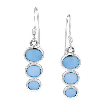 Cute Triple Oval Blue Mother of Pearl Sterling Silver Dangle Earrings