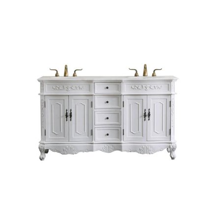 60 In Double Bathroom Vanity Set Antique White