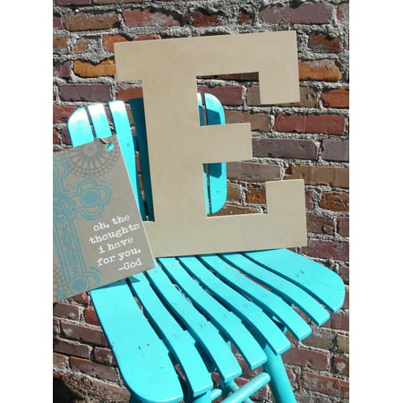 Wood Letter, Block Wooden Letter E 18'', Unfinished Wall Hanging