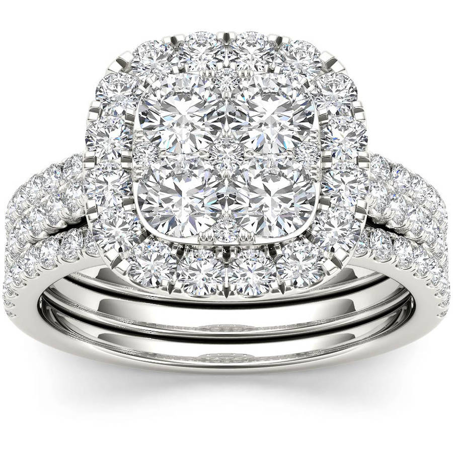 2 Carat T.W. Diamond Single Halo Cluster Two-Band 14kt White Gold Engagement Ring Set