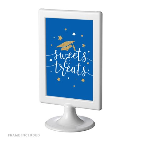 Royal Blue and Gold Glittering Graduation Party Sign, Double-Sided 4x6-inch, Sweets & Treats, Includes Reusable - Royal Blue And Gold
