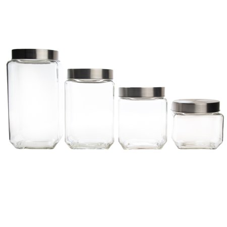 Farberware (4 Pack) Canister Set Glass Food Storage Containers With Lids Home Decor Kitchen Decor