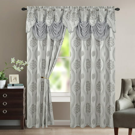 Madison Silver Leaf (Aurora Tree Leaf Jacquard Window Panel with Attached Valance, Silver, 54x84 Inches )