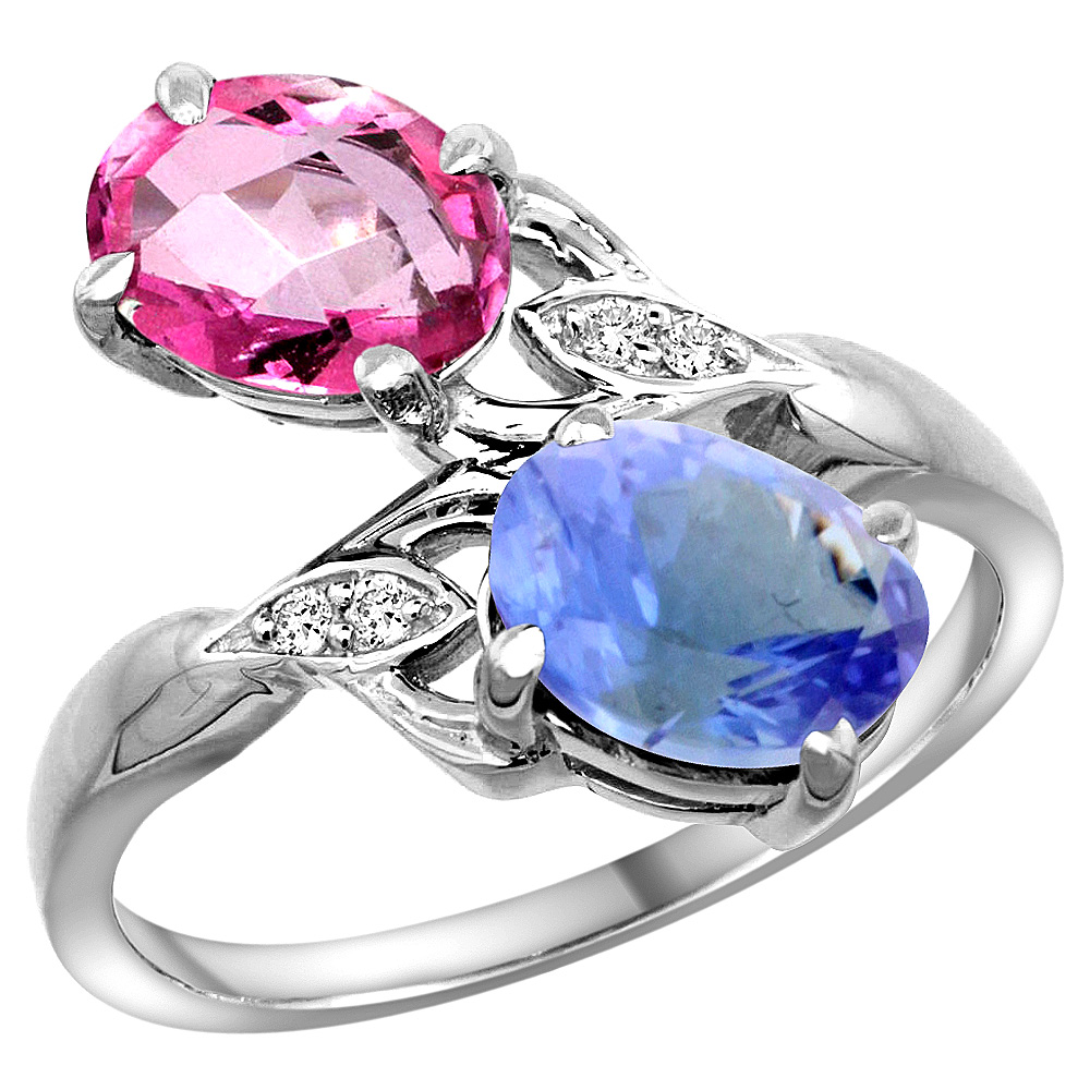 14k White Gold Diamond Natural Pink Topaz & Tanzanite 2-stone Ring Oval 8x6mm, size 5 by Gabriella Gold