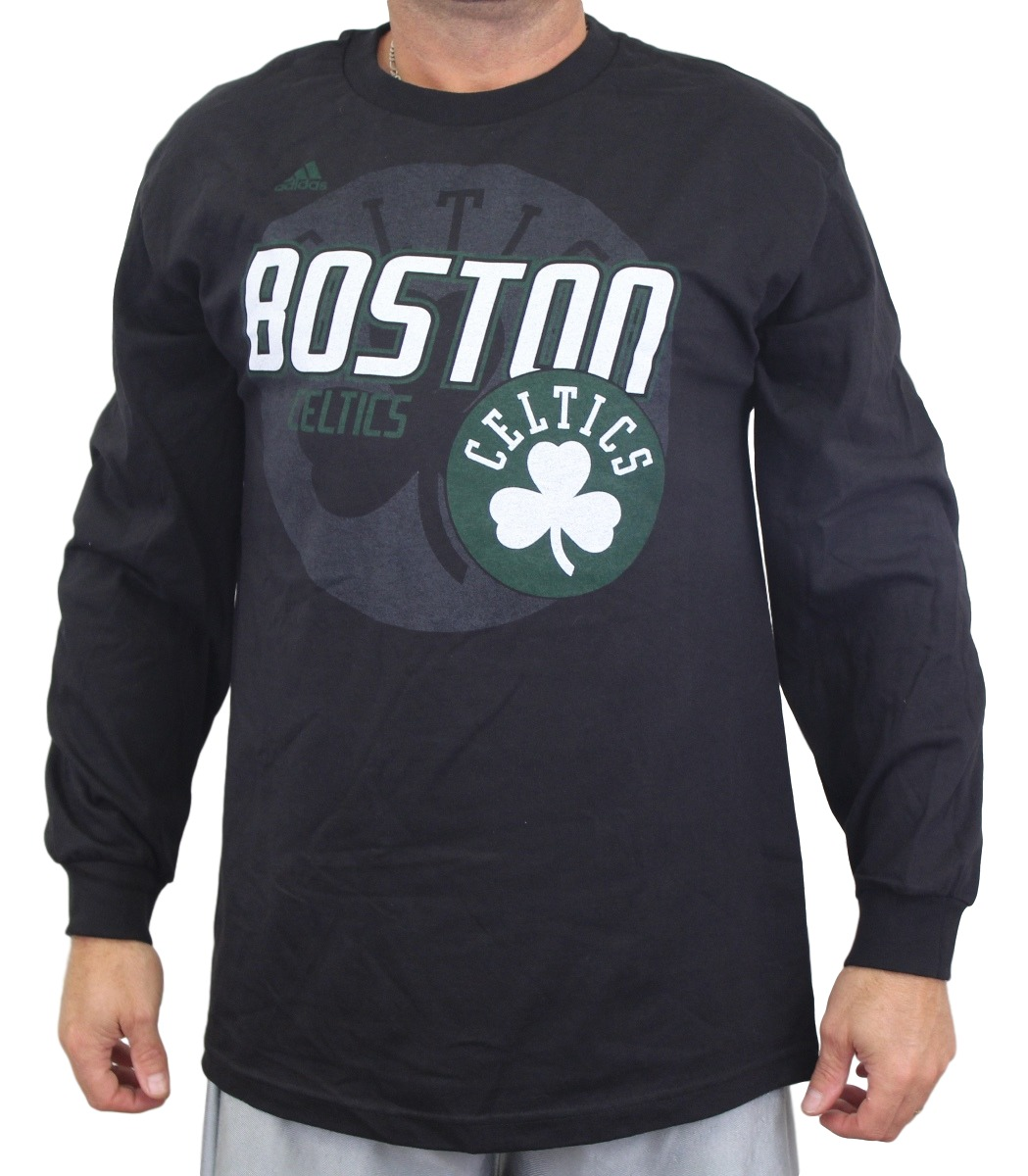 "Boston Celtics Adidas NBA ""Distressed Back Logo"" Men's Long Sleeve Black T-Shirt by Nba"