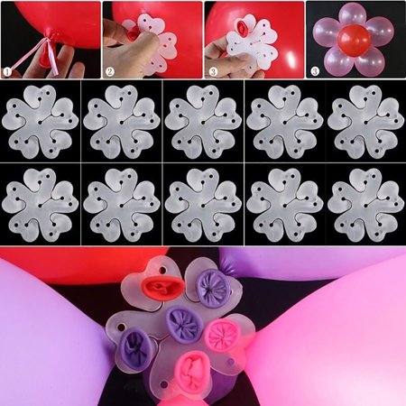 Micelec 10Pcs Flower Shape Balloon Clip Tie Holder Birthday Wedding Party Decoration