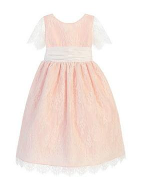 75410bd4c723 Product Image Sweet Kids Little Girls Blush French Lace Dupioni Flower Girl  Dress