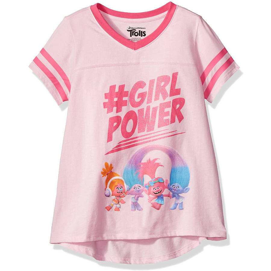 Girls' '#GirlPower' Short Sleeve Contrast V-Neck Graphic T-Shirt With Pink Glitter