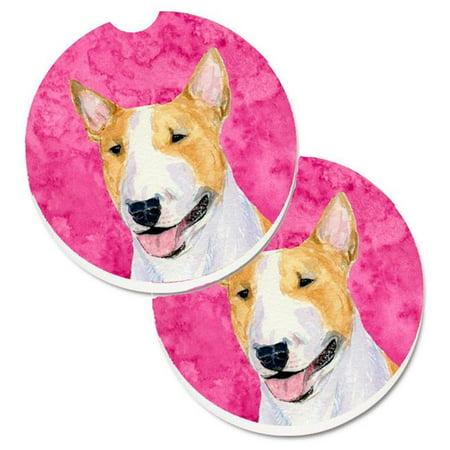 Blue Bull Terrier Set of 2 Cup Holder Car Coaster - image 1 de 1