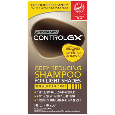 Just For Men Control GX Grey Reducing Hair Color Shampoo for Blonde and Medium Brown Hair, Gradually Reduces Grey, 5 FL.