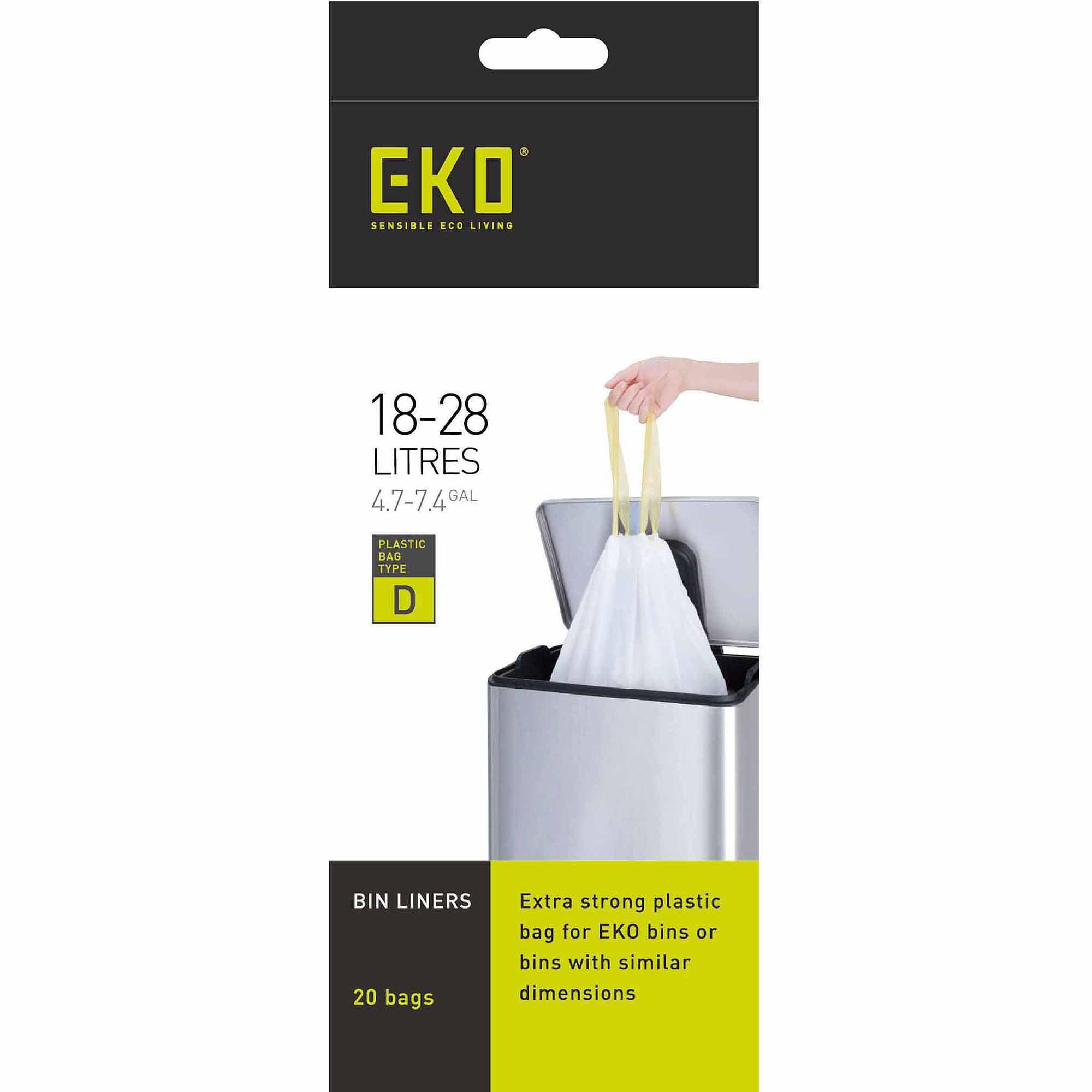 Household Essentials Eko Plastic Drawstring Liner for 18-28L Step Bin Trash Cans, 20 count Roll