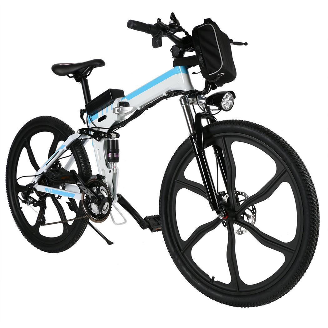 Last Clearance! Ancheer 26'' Inch Folding  Electric Mountain Bicycle Power with Big Capacity Lithium-Ion Battery