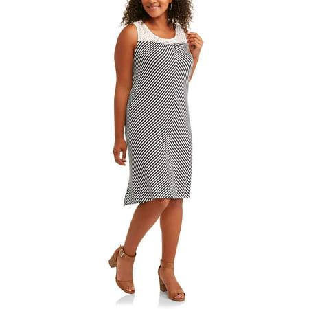 Women's Plus Sleeveless Striped Dress with Lace Yoke