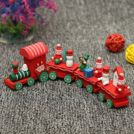 Santa Claus Train - Kids Gifts Christmas Woods Small Wooden Train Mini Children Kindergarten Santa Claus Festive Decorations Gift for Christmas Activities Parties