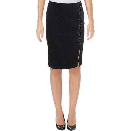 Iridescent Petite Skirt (Lauren Ralph Lauren Womens Petites Denim Knee-Length Pencil)