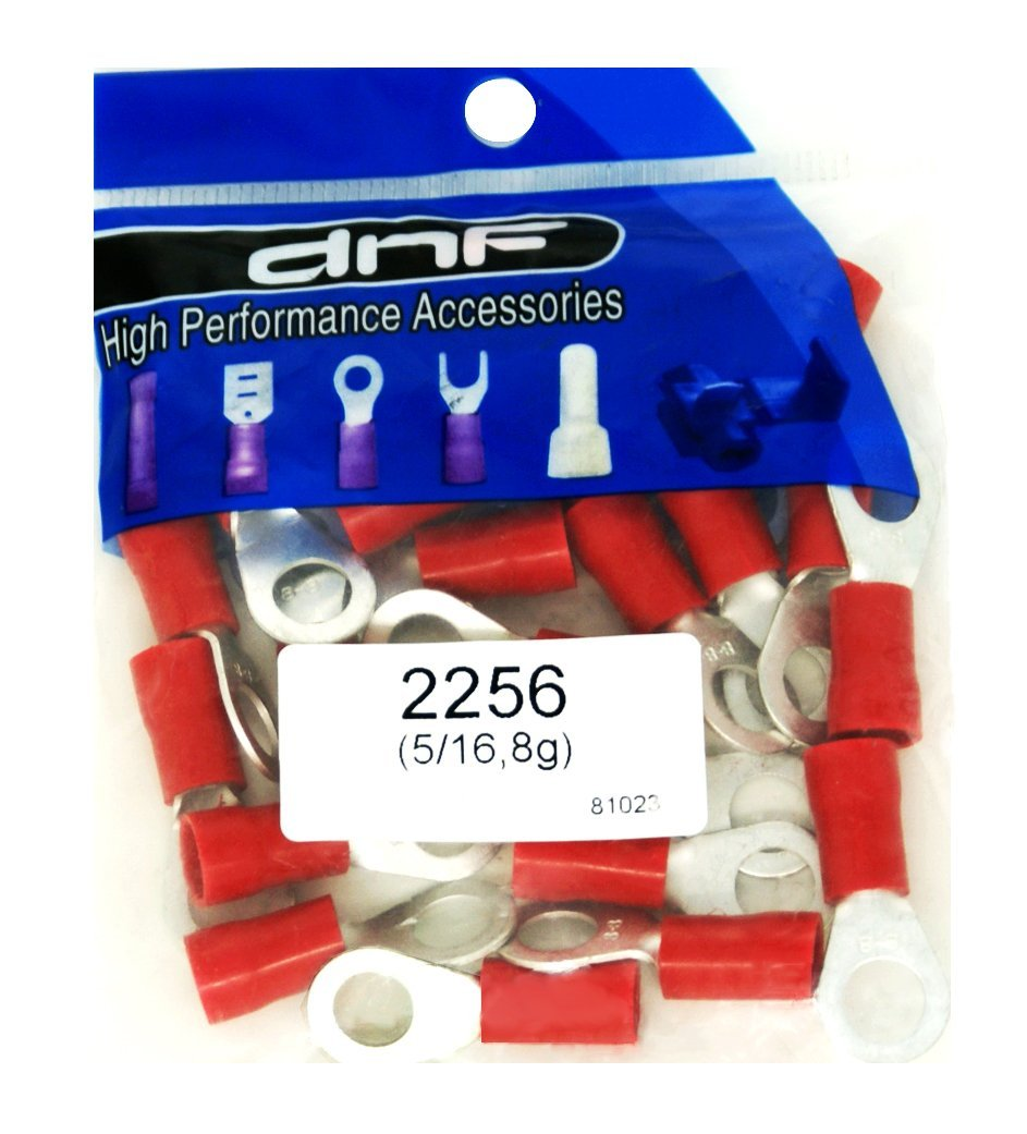 DNF 25 Pack Copper 8 Gauge Red Ring Terminals Electrical Wire Connectors 5/16""