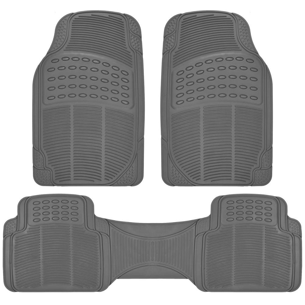 Grey Gray All Weather 3 Piece Set Heavy Duty Rubber Auto Floor Mats Liner for Auto Car Truck SUV