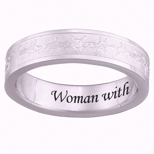 Personalized Stainless Steel Slim Barb Wire Band