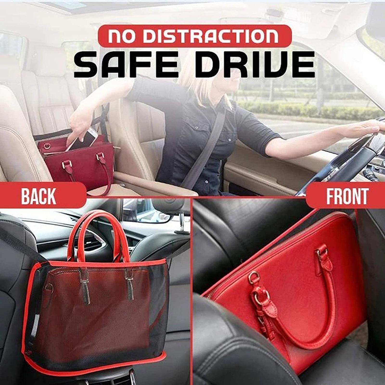 Large Capacity Car Seat Storage Net Bag for Storaging Handbag Purse Phones Cargo Tissue Kids Pets Barrier of Backseat Classic-black WAEKIYTL Car Net Pocket Handbag Holder Car Mesh Organizer
