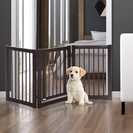 Free Standing Wood Pet Gate Folding Z Shape Configurable Dog Gate - image 1 of 7