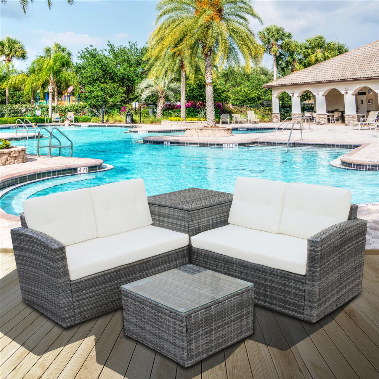 CLEARANCE! Outdoor Patio Conversation Furniture Sets, 4 ... on Patio Loveseat Set id=98142