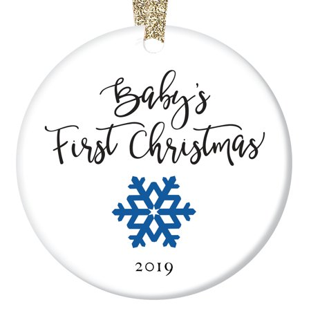 Baby Snowflake - Baby's First Christmas Ornament 2019, New Baby Boy Snowflake Porcelain Ceramic Ornament, 3