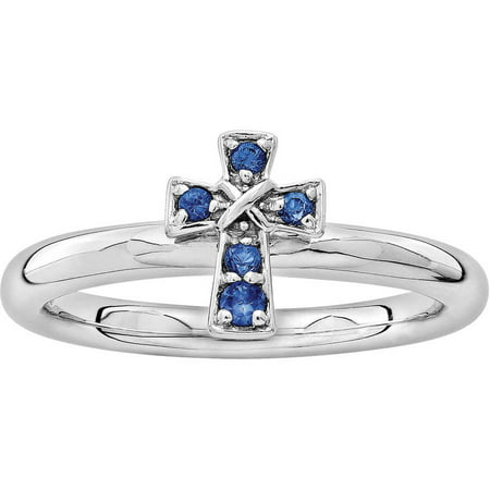 Stackable Expressions Created Sapphire Sterling Silver Rhodium Cross Ring - Blue Lantern Ring For Sale
