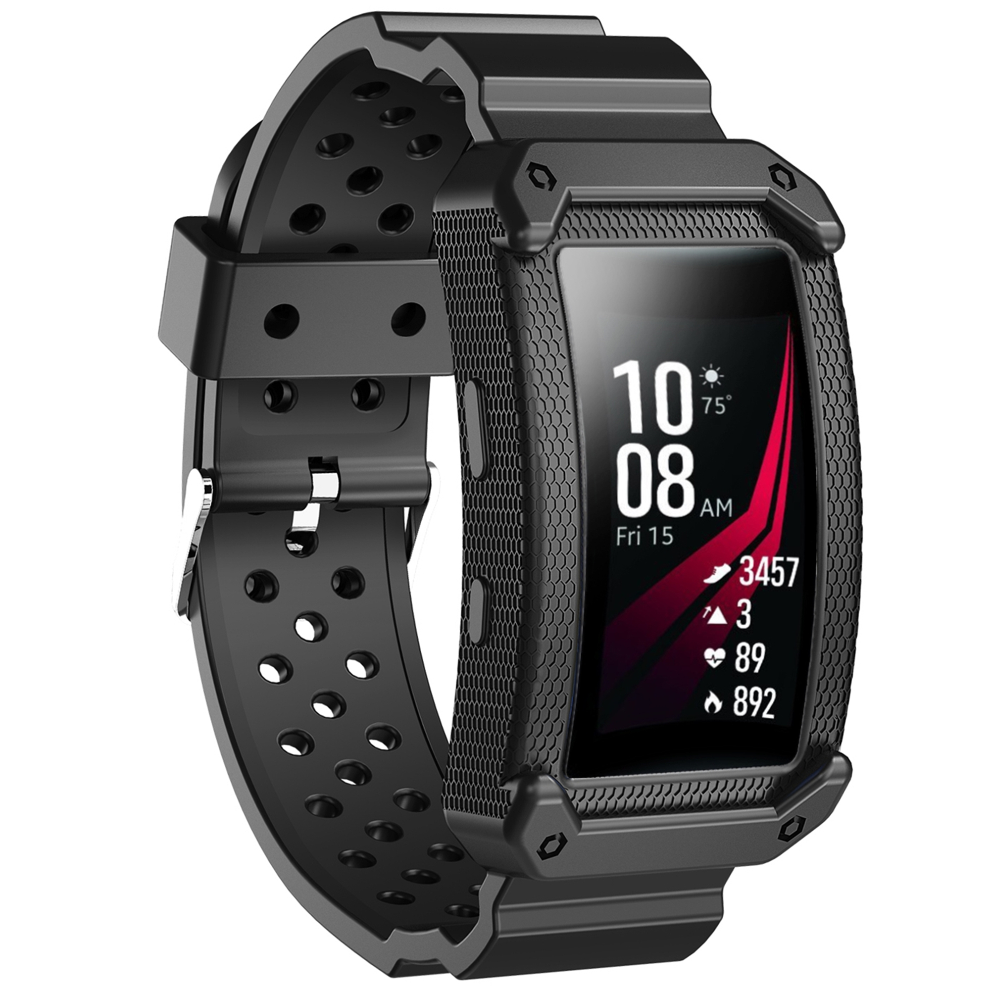 Moretek Gear Fit 2 Watch Bands Protective Frame Case Replacement Bands for Samsung Gear fit 2/ Gear Fit2 Pro Smartwatch (Black)
