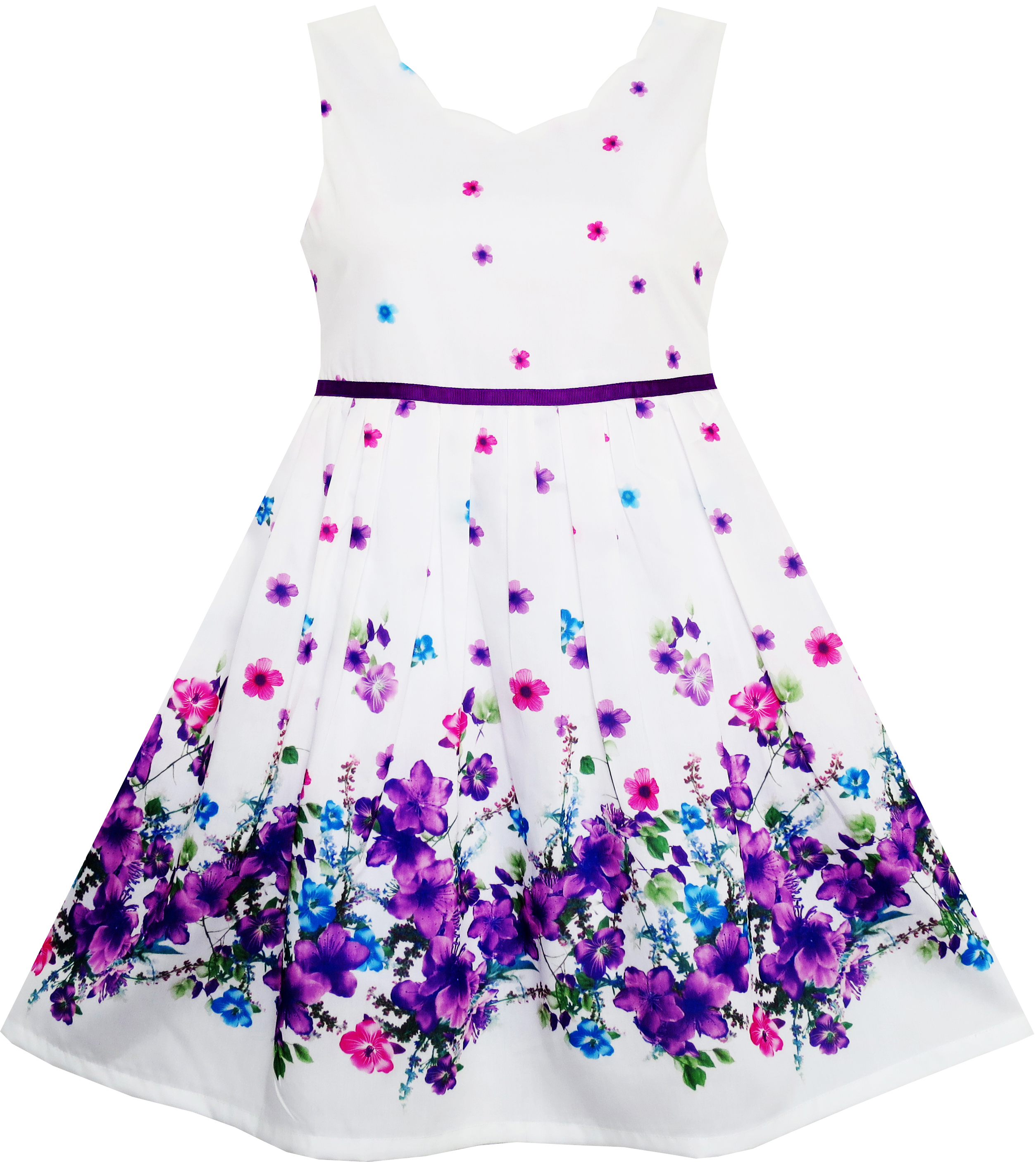 Sunny Fashion Girls Dress Elegant Princess Blooming Flower In Wind Size 4-12