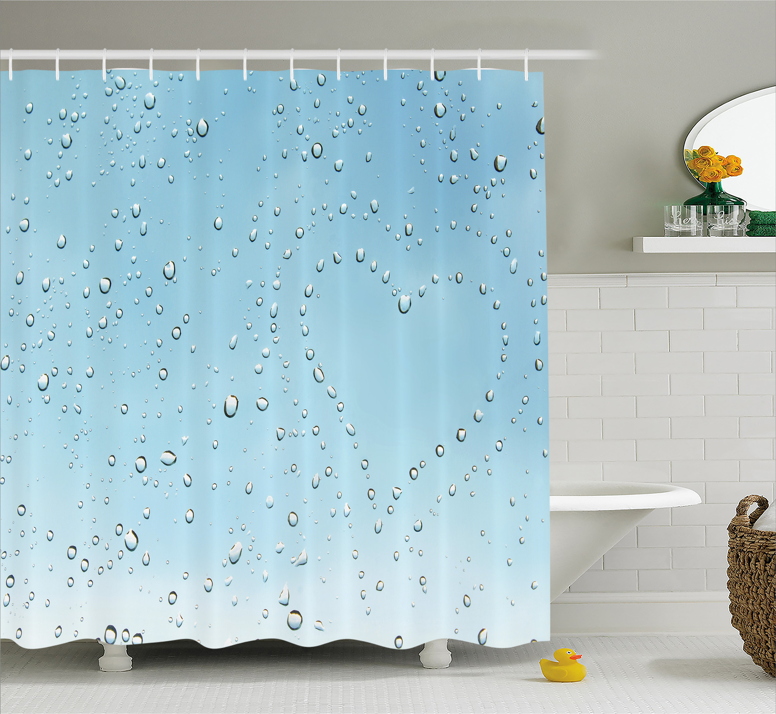 Farmhouse Decor Shower Curtain, Heart Shape Rain Droplets on Crystal Clear Window Glass Pure Love Valentines, Fabric Bathroom Set with Hooks, 69W X 75L Inches Long, Blue, by Ambesonne
