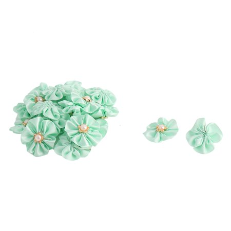 Lady Dress Decor Satin Faux Pearl Inlaid DIY Ribbon Flower Light Green 20 - Japanese Faux Pearl