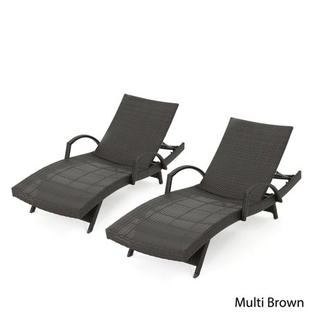 Christopher Knight Home Toscana Outdoor Wicker Armed Chaise Lounge Chair (Set of 2) by  -