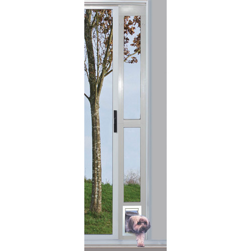 Ideal Modular Aluminum Patio Pet Door White, Small For Pets To15 Lbs.