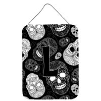 Letter L Day of the Dead Skulls Black Wall or Door Hanging Prints