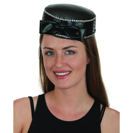 Adult's Womens Black Satin Pill Box Hat With Bow Costume